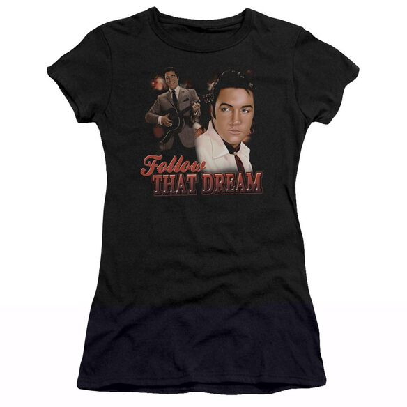 ELVIS PRESLEY FOLLOW THAT DREAM - S/S JUNIOR SHEER - BLACK T-Shirt