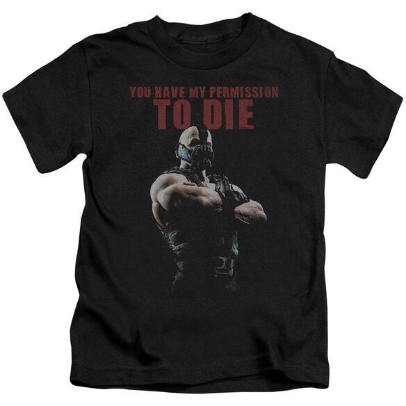Dark Knight Rises Permission To Die Short Sleeve Juvenile Black T-Shirt