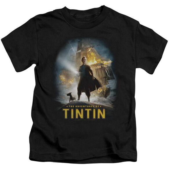 Tintin Poster Short Sleeve Juvenile Black T-Shirt