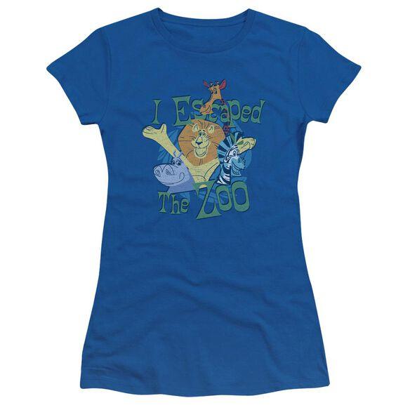 Madagascar Escaped Short Sleeve Junior Sheer Royal T-Shirt