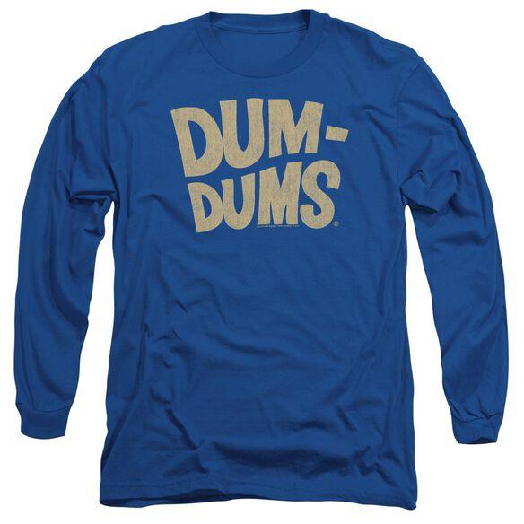 Dum Dums Distressed Logo Long Sleeve Adult Royal T-Shirt