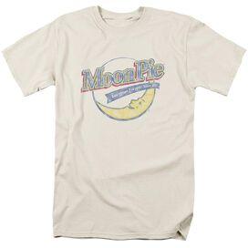 Moon Pie Distressed Retro Logo Short Sleeve Adult Cream T-Shirt