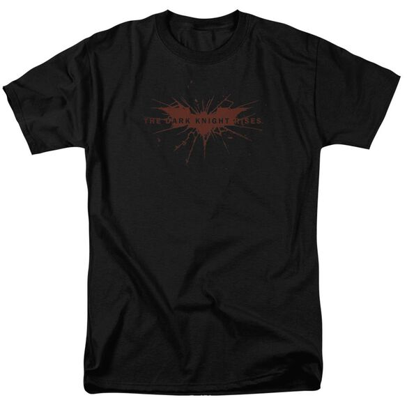 Dark Knight Rises Distressed Bat Short Sleeve Adult Black T-Shirt