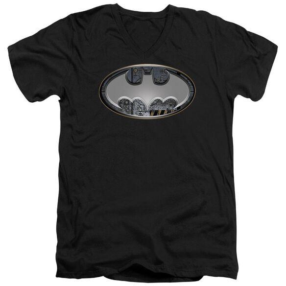 Batman Steel Wall Shield Short Sleeve Adult V Neck T-Shirt