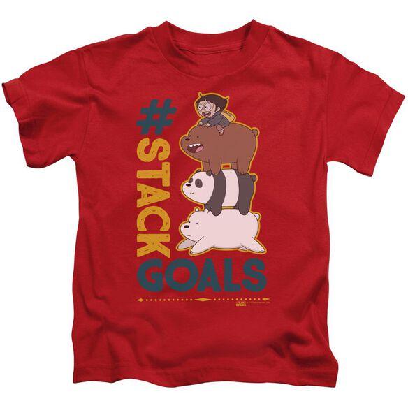 We Bare Bears Stack Goals Short Sleeve Juvenile Red T-Shirt