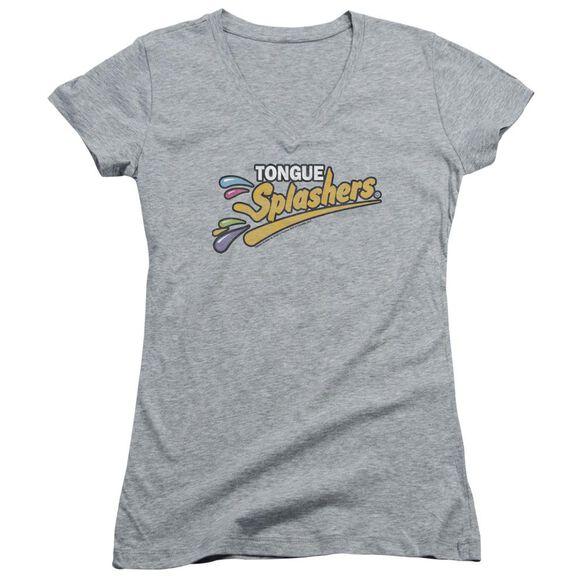 Dubble Bubble Tongue Splashers Logo Junior V Neck Athletic T-Shirt