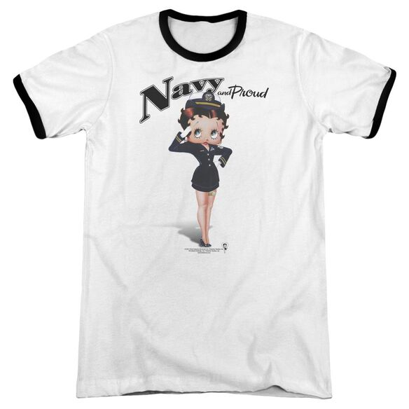 Betty Boop Navy Boop Adult Ringer White Black