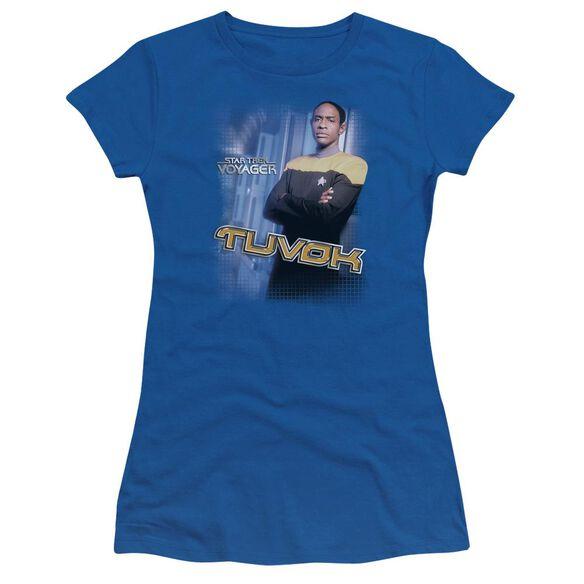 Star Trek Tuvok Short Sleeve Junior Sheer Royal T-Shirt