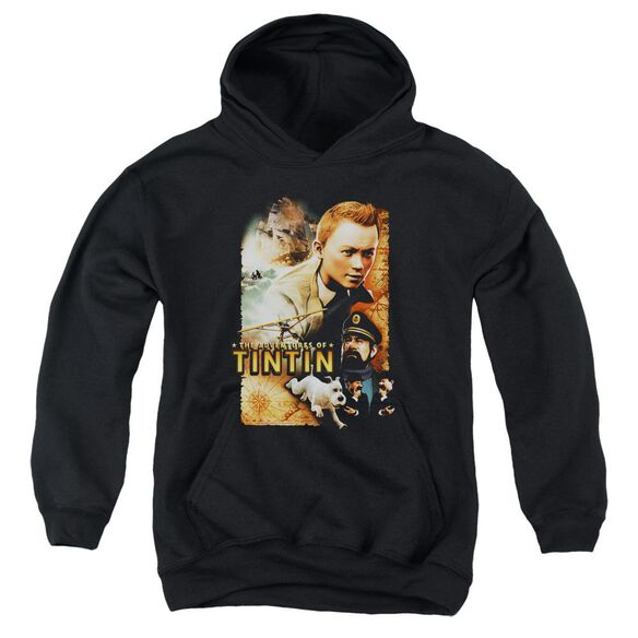 Tintin Adventure Poster Youth Pull Over Hoodie