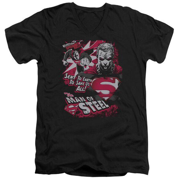 SUPERMAN SAVE US ALL - S/S ADULT V-NECK - BLACK T-Shirt