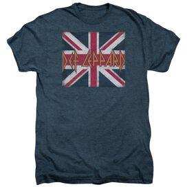 Def Leppard Union Jack Short Sleeve Adult Premium Tee Indigo T-Shirt
