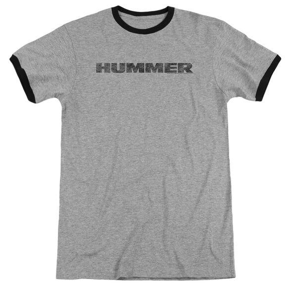 Hummer Distressed Hummer Logo Adult Ringer Heather Black
