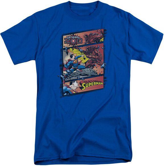 Superman Superman Vs Zod Short Sleeve Adult Tall Royal T-Shirt