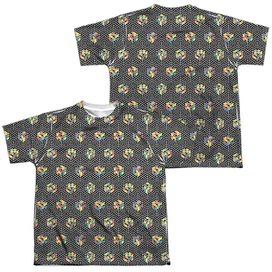Rubiks Cube Black And (Front Back Print) Short Sleeve Youth Poly Crew T-Shirt