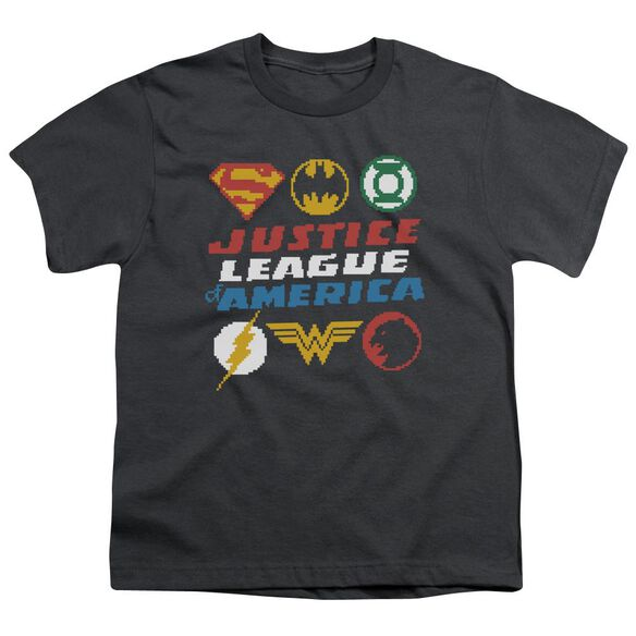 Jla Pixel Logos Short Sleeve Youth T-Shirt