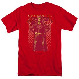 Supergirl Ready Set Short Sleeve Adult Red T-Shirt