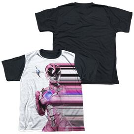 Power Rangers Pink Streak Short Sleeve Youth Front Black Back T-Shirt