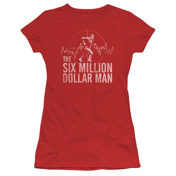 Six Million Dollar Man Target Short Sleeve Junior Sheer T-Shirt