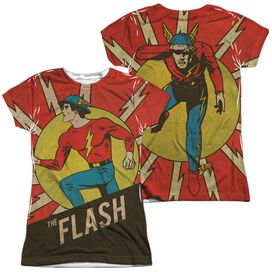 Dc Flash Vintage Comic Flash (Front Back Print) Short Sleeve Junior Poly Crew T-Shirt