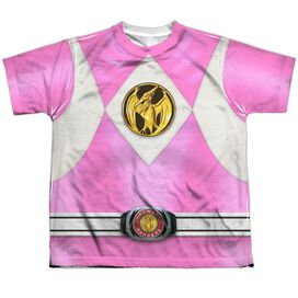 Power Rangers Pink Ranger Emblem Short Sleeve Youth Poly Crew T-Shirt