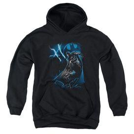 Batman Lightning Strikes-youth Pull-over Hoodie - Black