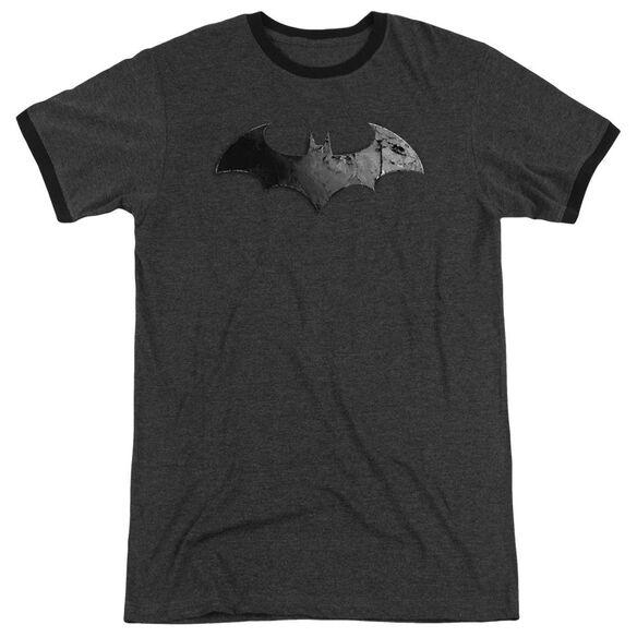 Arkham City Bat Logo - Adult Heather Ringer - Charcoal
