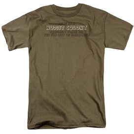 In A Nudist Colony Short Sleeve Adult Safari Green T-Shirt