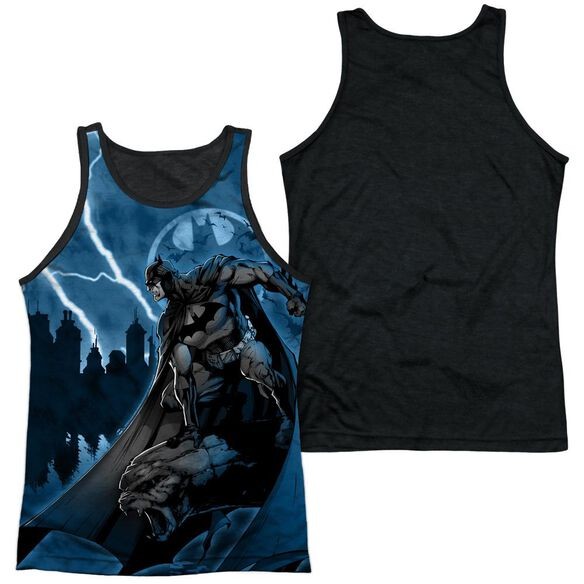 Batman Lightning Strikes Adult Poly Tank Top Black Back