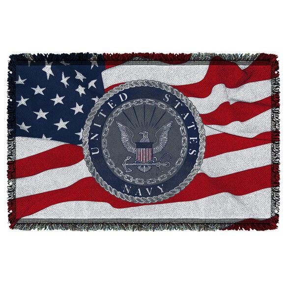 Navy Flag Seal Woven Throw