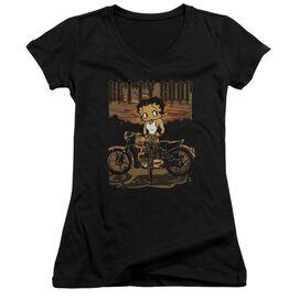 Betty Boop Rebel Rider Junior V Neck T-Shirt