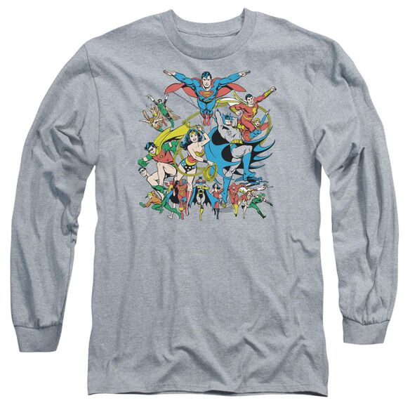 Dc Justice League Assemble Long Sleeve Adult Athletic T-Shirt