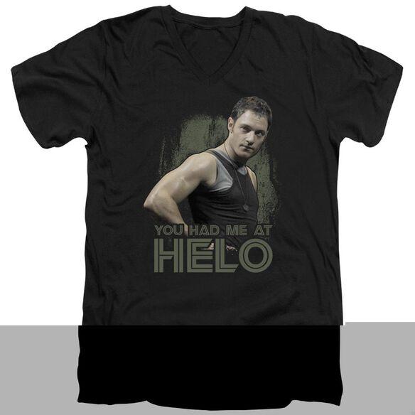 BSG HAD ME AT HELO - S/S ADULT V-NECK - BLACK T-Shirt