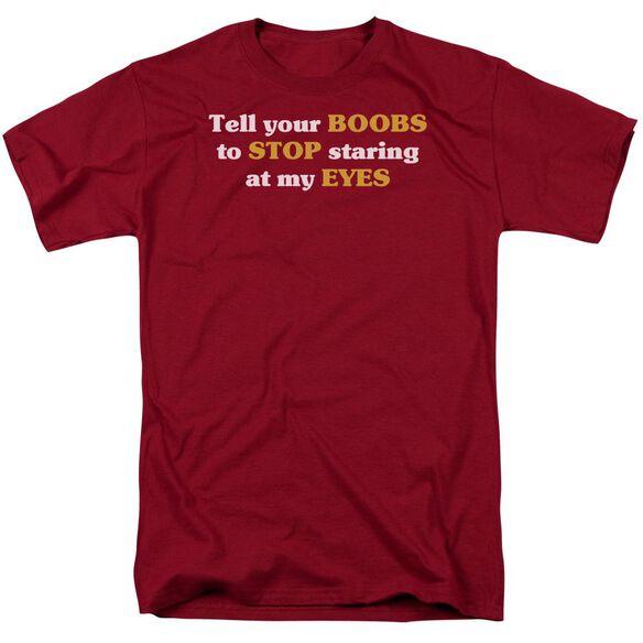 Boobs Staring At Eyes Short Sleeve Adult Cardinal T-Shirt