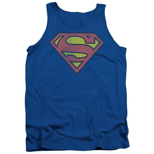Dc Retro Supes Logo Distressed Adult Tank Royal