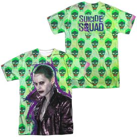 Suicide Squad Joker Jacket Skull (Front Back Print) Short Sleeve Adult Poly Crew T-Shirt