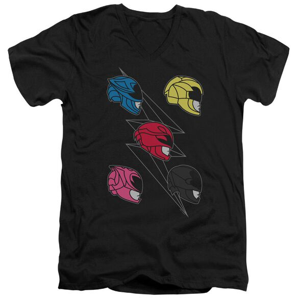 Power Rangers Line Helmets Short Sleeve Adult V Neck T-Shirt