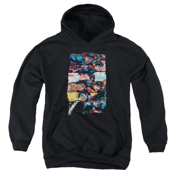 Superman Torn Collage Youth Pull Over Hoodie