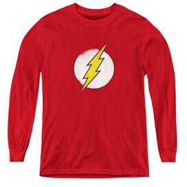 Dc Flash Rough Flash Logo - Youth Long Sleeve Tee - Red