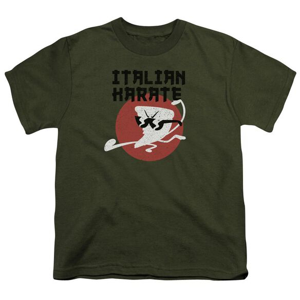 Uncle Grandpa Italian Karate Short Sleeve Youth Military T-Shirt