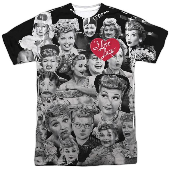 I Love Lucy Faces Short Sleeve Adult Poly Crew T-Shirt