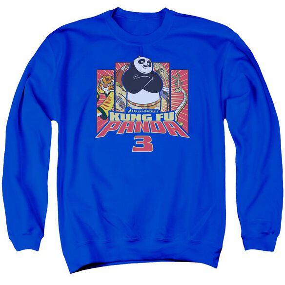 Kung Fu Panda Kung Furry Adult Crewneck Sweatshirt Royal