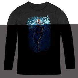 Jla Black Lightning Bolts - Womens Long Sleeve Tee - Black