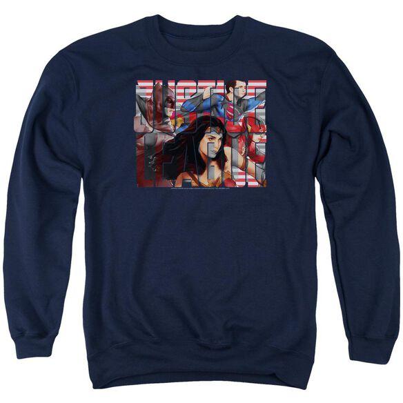 Justice League Movie Rally Adult Crewneck Sweatshirt