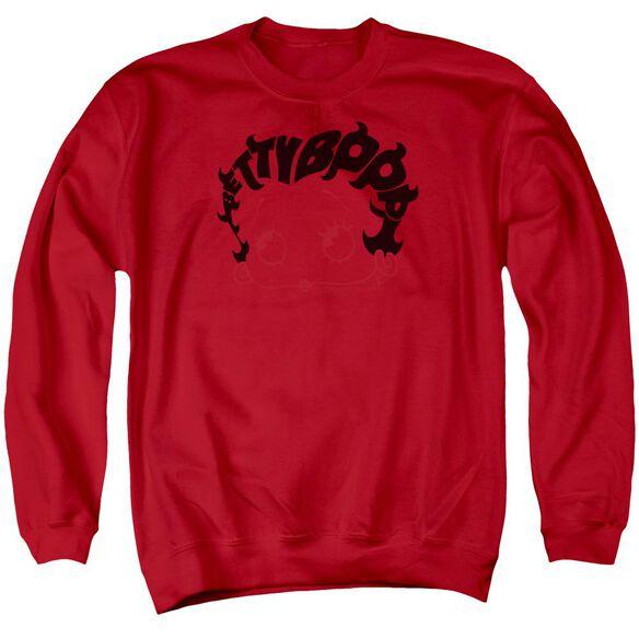 Betty Boop Word Hair Adult Crewneck Sweatshirt