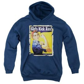 Girls Kick Ass-youth Pull-over Hoodie - Navy