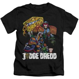 Judge Dredd Bike And Badge Short Sleeve Juvenile Black T-Shirt