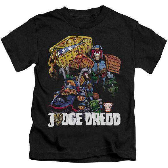 Judge Dredd Bike And Badge Short Sleeve Juvenile Black T-Shirt