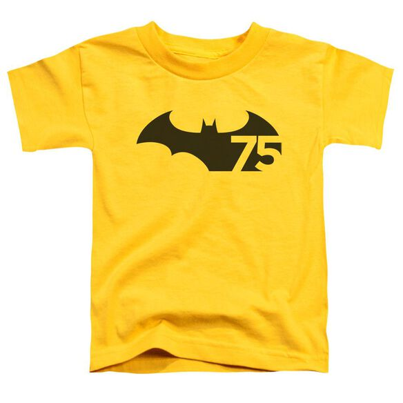 Batman 75 Logo Short Sleeve Toddler Tee Yellow T-Shirt