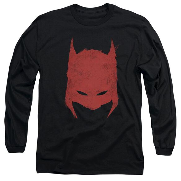BATMAN HACKED & SCRATCHED - L/S ADULT 18/1 - BLACK T-Shirt