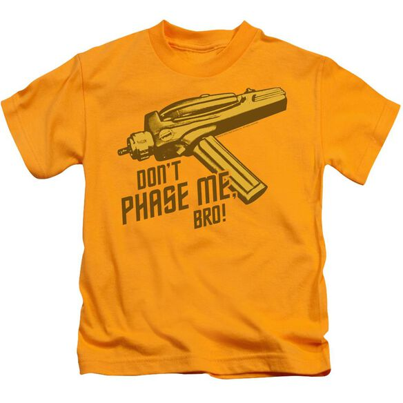 Star Trek Don't Phase Me Bro Short Sleeve Juvenile Gold Md T-Shirt